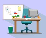 工作场所在有扶手椅子的办公室,计算机和一个磁性标志为记录的想法和介绍上在styl 库存照片