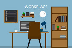 工作场所在老本级教室 时髦和老内部 质量des 库存例证