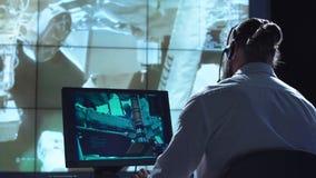 工作场所的人在航天中心 免版税库存图片