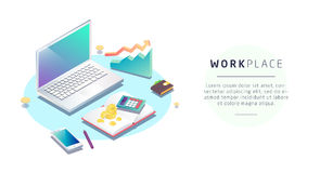 工作场所的等量概念有计算机和办公设备的 向量例证