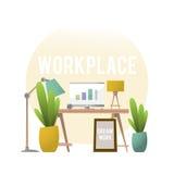 工作场所的设计有家具和植物的 库存例证