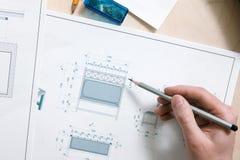 工作处理顶视图的设计师 库存照片