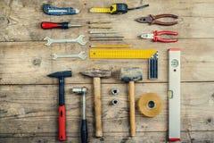 工作工具的混合 免版税库存图片