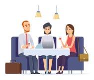 工作晚餐 与工作伙伴或客户的会谈餐馆行政咖啡馆工作午餐传染媒介字符的 皇族释放例证