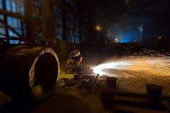 工作机器零件在铸造厂 图库摄影