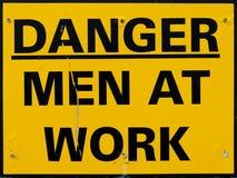 工作标志的黄色人 免版税库存照片