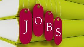 工作标记垂悬与书的, employement概念 库存照片