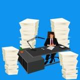 工作环境,堆纸,传染媒介例证 库存照片