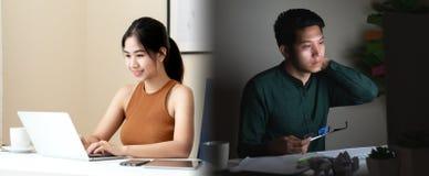 工作生活在亚裔自由职业者人民或年轻企业家的平衡比较的概念 可爱的年轻亚裔男人和妇女 库存照片