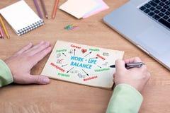 工作生活平衡概念 有膝上型计算机和文具的办公桌 免版税图库摄影