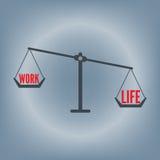 工作生活在重量标度概念,传染媒介例证的平衡字词在平的设计背景中 免版税库存照片