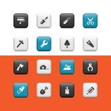 工作用工具加工按钮 免版税库存照片