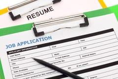 工作申请书和简历 免版税库存照片