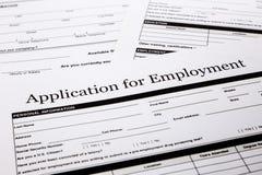 工作申请书形式 免版税库存照片