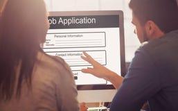 工作申请书的数位引起的图象的综合图象 库存图片