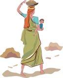 工作的印地安母亲 库存图片