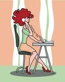 工作的呼叫中心女孩 向量例证