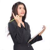 工作的女会计在演播室 免版税库存照片
