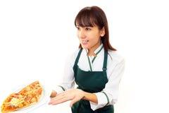 工作的女服务员 免版税库存图片