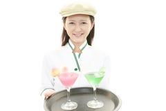 工作的女服务员 库存图片