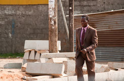 工作的非洲去的人 免版税图库摄影