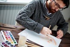 工作的画家 免版税图库摄影