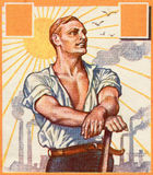 工作者。 老德国海报。 库存图片