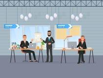 工作者举行会议,会议,谈论共同的事物,与顾客沟通 库存例证