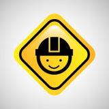 工作者人盔甲标志黄色象 库存照片