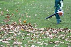 工作者在公园在秋天收集叶子 免版税图库摄影