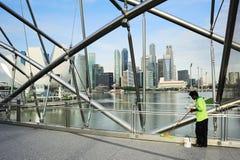 工作者在新加坡 免版税图库摄影
