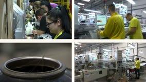 工作者在电缆的生产的-多屏幕工厂 股票视频