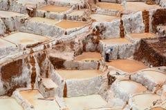 工作者在盐蒸发池塘 Maras 神圣的谷 库斯科地区 秘鲁 库存图片