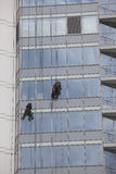 工作者在高度的清洁窗口 免版税库存照片