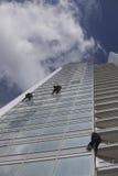 工作者在高度的清洁窗口 图库摄影