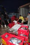 工作者在Hon Ro海口研冰保存金枪鱼,芽庄市市 免版税图库摄影