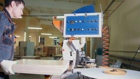工作者木匠处理在边缘机器的木盘区在家具工厂 库存图片