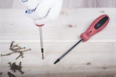 工作者的手在与螺丝刀的一个木块拧紧 库存照片