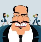 工作者的歧视 上司控制雇员 商人牵线木偶 向量例证