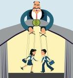 工作者的歧视 木偶事务 上司控制雇员 库存例证
