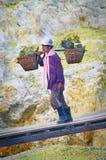 工作者运载在火山口伊真火山火山里面的硫磺 库存图片