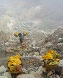 工作者运载在火山口里面的硫磺在伊真火山火山,印度尼西亚 库存图片