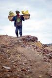 工作者运载硫磺 库存照片