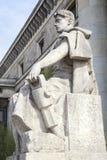 工作者雕象、劳动人民文化宫&科学在华沙,波兰 库存图片