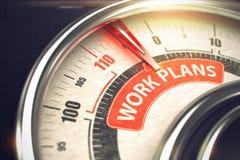 工作计划-在概念性测量仪的文本有红色针的 3d 库存图片