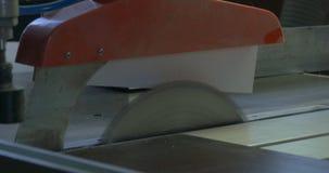 工作锯切木头 刀片通报被射击的关闭锯 锯木头、颗粒盘和纤维板的机器 工业生产  免版税库存图片