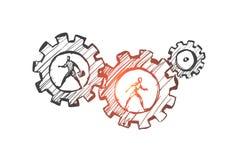 工作,事务,自动化, HCI,技术概念 手拉的被隔绝的传染媒介 库存例证