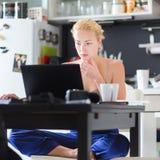 工作从家的女性自由职业者 库存照片