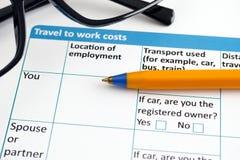 工作费用申请表的旅行 库存照片
