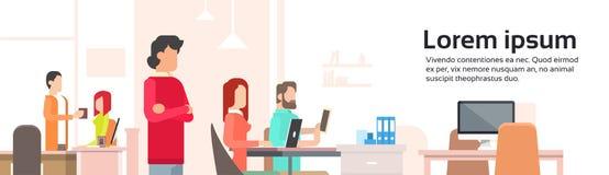 工作Coworking中心开放办公室空间横幅的人们 向量例证